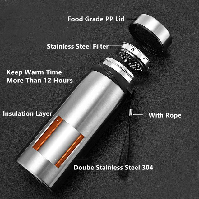 1500ml/1100ml/650ml Portable Double Stainless Steel Vacuum Flask Coffee Tea Thermos Sport Travel Mug Large Capacity Thermocup 2