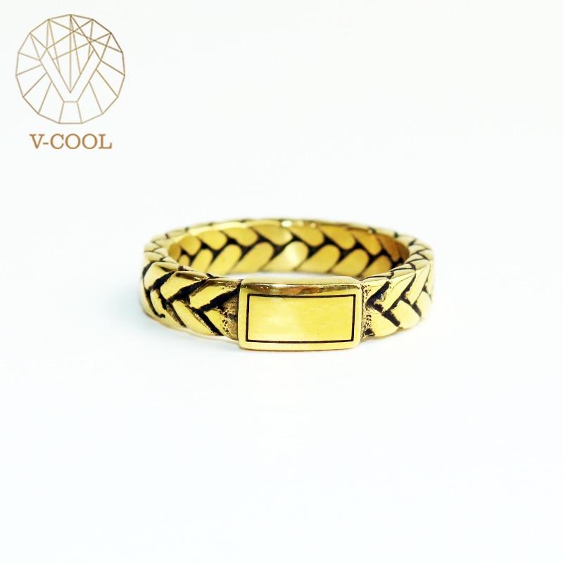 V-COOL buda anel de ouro do vintage anéis de bicicleta para as mulheres moda simples casal encantadores luxo casamento jóias vr167