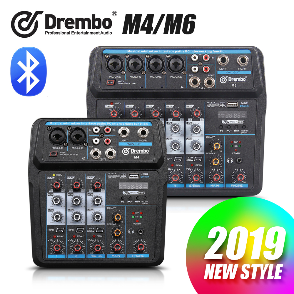 Drembo M-4/6 Protable Mini Mixer Audio DJ Konsole mit Soundkarte, USB, 48V Phantom Power für PC Aufnahme Singen Webcast Party