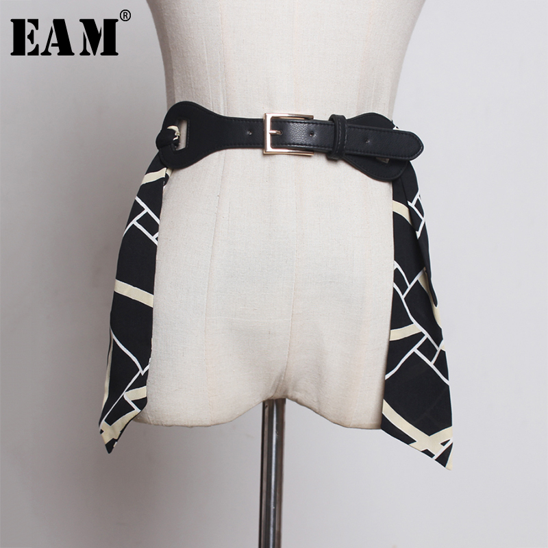 [EAM]  Pu Leather Chiffon Wide Contrast Color Long Belt Personality Women New Fashion Tide All-match Spring Autumn 2020 1A055