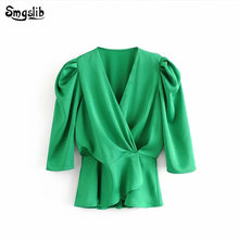 2019  England style shine like silk v-neck blusas mujer de moda kimono green blouse women womens tops and blouses plus size