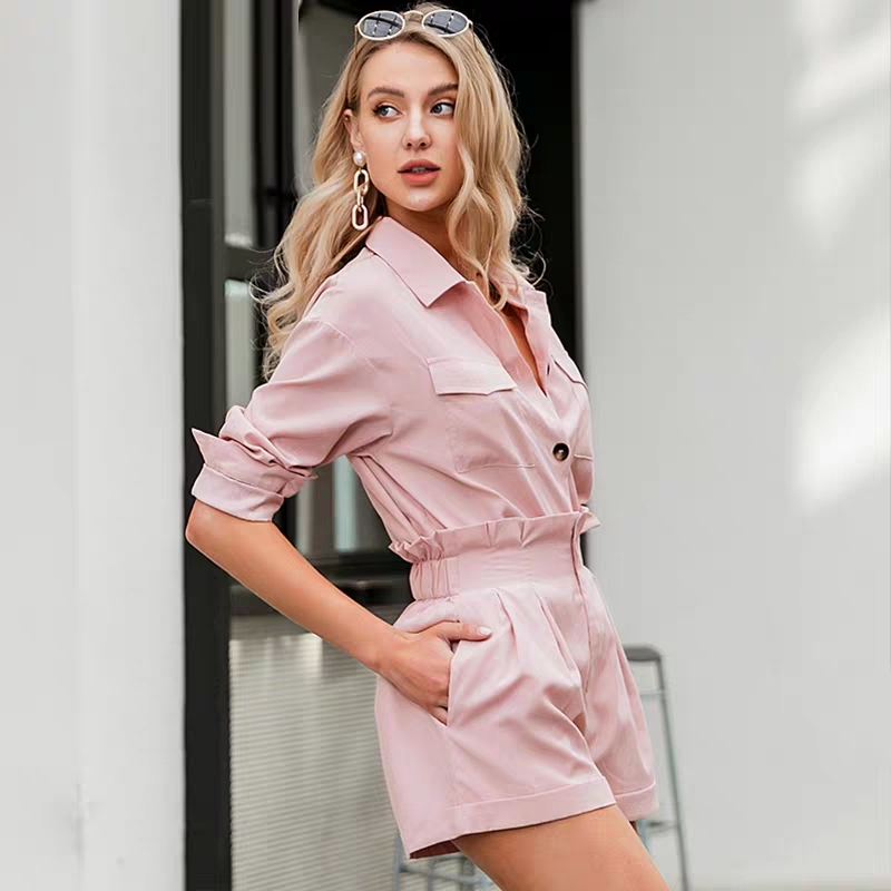 2020 Europe The United States Fashion Temperament Pink Suit Work Style Loose Button Shirt And Shorts Two-Piece Female New Set