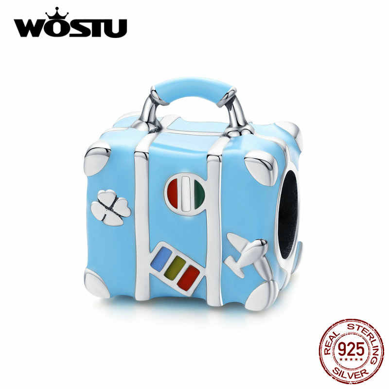Wostu Nieuwe Mode 925 Sterling Zilveren Koffer Bagage Blauwe Kralen Fit Originele Armband Charm Hanger Sieraden Maken CQC1377
