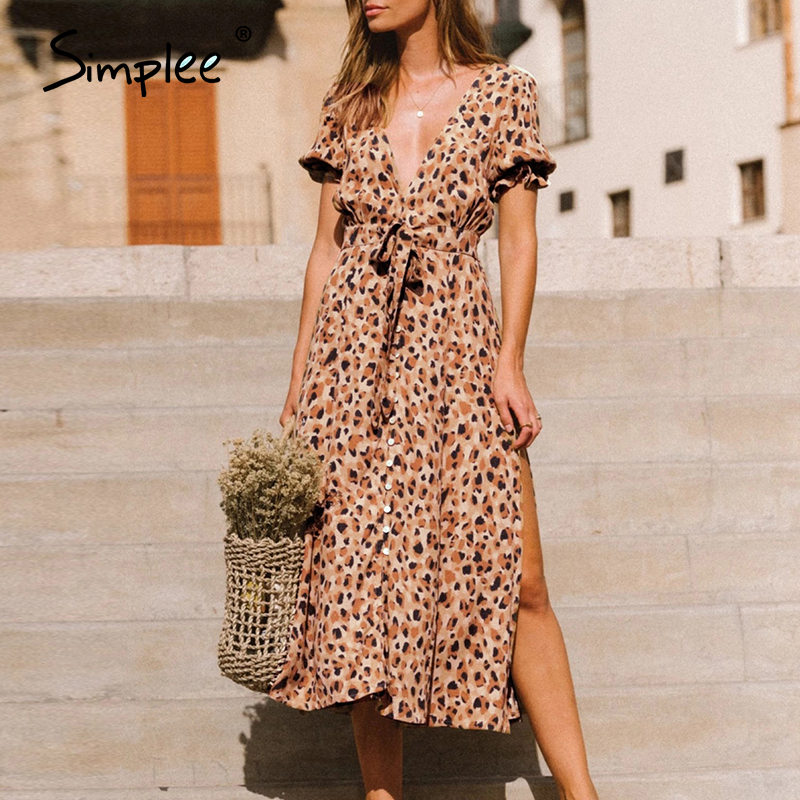 Simplee Sexy V-neck Women Dress Leoprad Print Short Sleeve High Wasit Summer Dress Casual Holiday Ruffled Beach Wear Maxi Dress