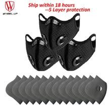 Máscara de ciclismo filtro de carvão ativado válvula de respiração esporte máscara filtro pm 2.5 anti-nevoeiro anti-poeira proteção de 5 camadas correndo