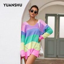 YUANSHU 2019 Autumn Women Sweaters V Neck Rainbow Striped Lo