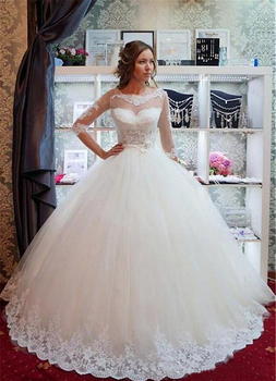 New Sheer Neck Ball Gown Wedding Dress With Lace Appliques Half Sleeves Wedding Dresses Sweep Train Lace-up Bridal Gowns lorie half sleeves champagne wedding dresses with pocket elegant satin lace ball gown bridal gowns back illusion bride dress
