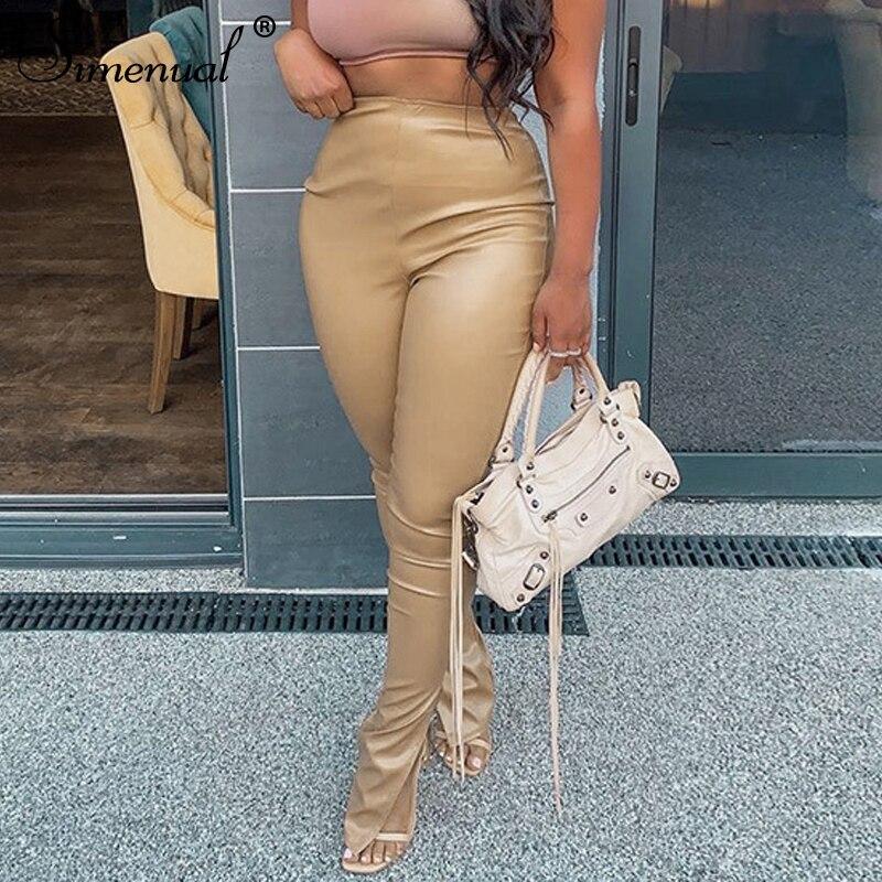 Simenual-Pantalones lápiz de cintura media ajustados para mujer, de piel sintética, corte lateral, ropa de moda, vestido ceñido largo, ropa para discoteca, otoño 2020