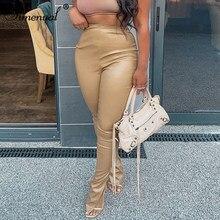Simenual smukłe do połowie talii Faux PU skórzane spodnie ołówkowe rozcięcia po bokach kobiet jesień 2020 modna odzież długa obcisła sukienka spodnie Clubwear