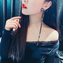 Sexy queen, super-long chain, long female bowknot, Korean-long, hyperbole, red earmark. statement earrings