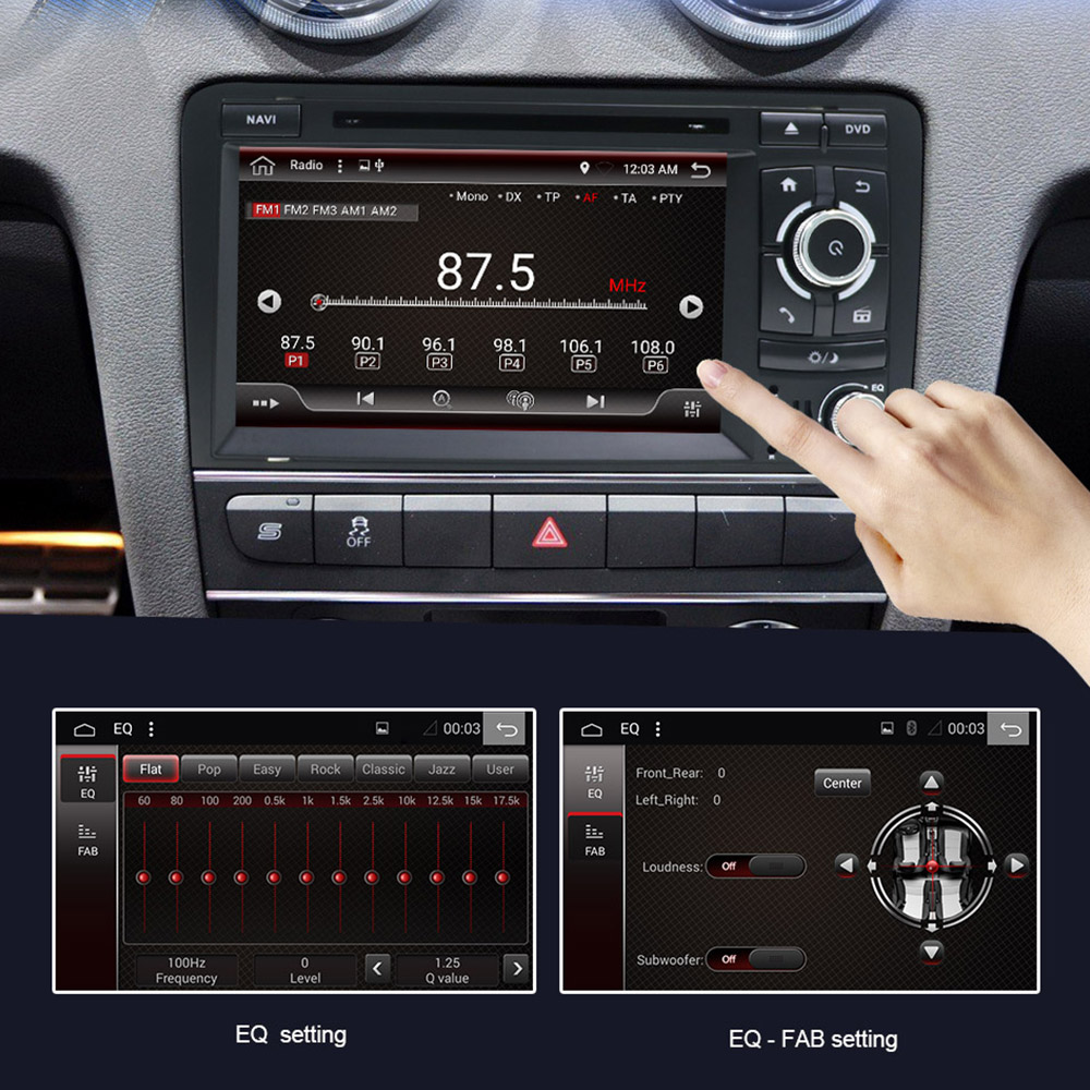 Eunavi IPS Android 9 auto dvd player Für Audi A3 S3 2003-2011GPS navigation radio stereo multimedia 4G 64G 1024*600 touch screen