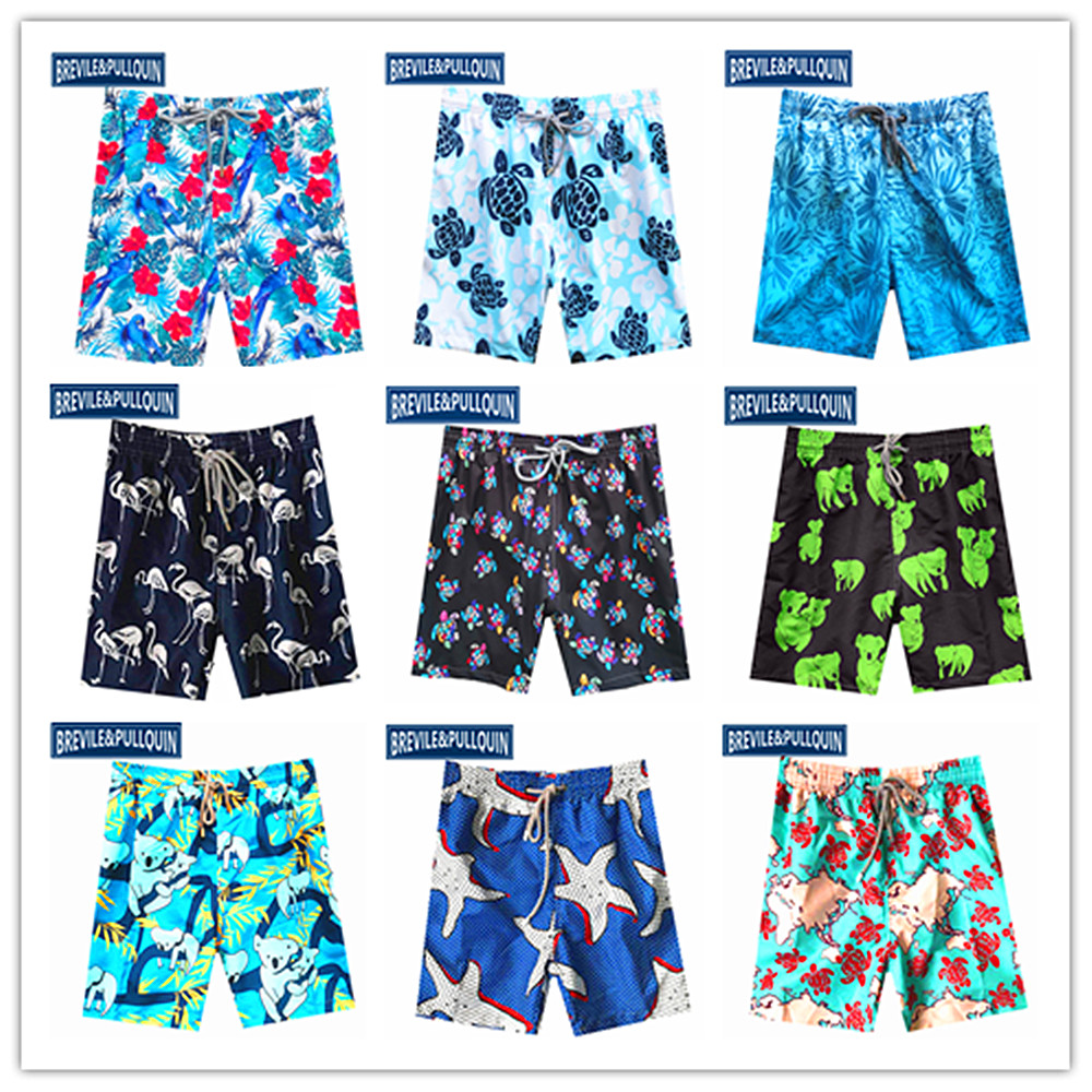 2020 Big Brand Brevile Pullquin Beach Boardshorts Men Turtles Swimwear Polar Bear Flamingo Polyester Spandex Shorts Quick Dry