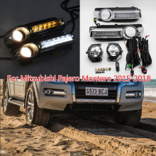 Daytime Running Driving Light DRL Fog Lamp With Turn Signal Function Fog Light Assembly For Mitsubishi Pajero Montero 2015 DRL купить недорого в Москве