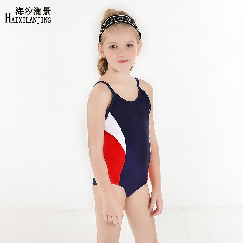 Hai Xi Lan Jing 2019 New Style GIRL'S Swimsuit Big Boy 4-12 Triangular One-piece Swimming Suit Profession Training Swimming