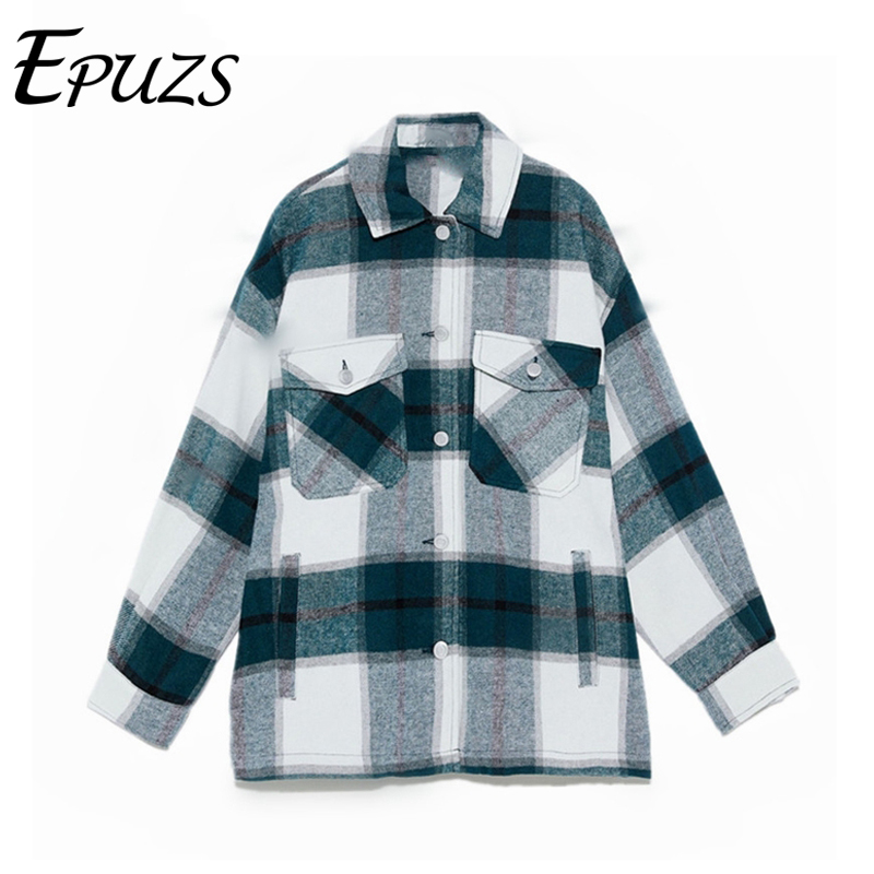 Winter Plaid Jackets Ladies Oversized Jackets Loose Causal Checkered Long Sleeve Jackets Coats Female Vintage Outerwear Womens