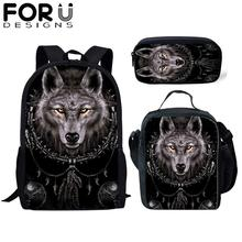 FORUDESIGNS 3Pcs/Set Children School Bag for Boys Wolf Totem 3D Print Orthopedic Backpack Kids Book Bags Mens Cool Travel