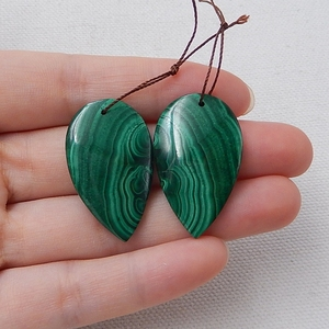 Image 4 - Water Drop Green Color Semi Finished Products Natural Stone Malachite Handmade Earrings For Women 33x20x5mm 14.7g