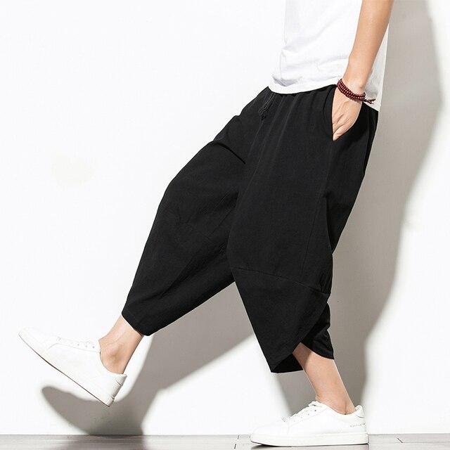 Dropshipping Summer Cotton Harem Pants Men Casual Hip Hop Trousers Cross Bloomers Calf-Length Pants Joggers Streetwear 4