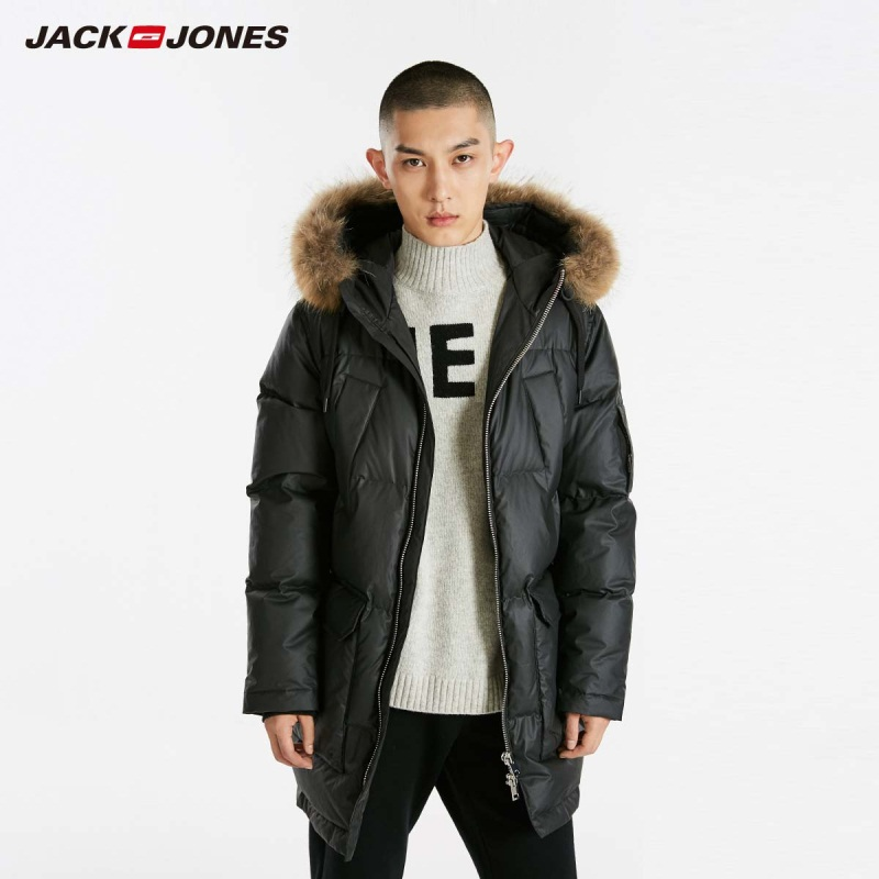 JackJones Winter Men's Hooded Fur Collar Long Down Jacket Warm Coat Menswear 218412543
