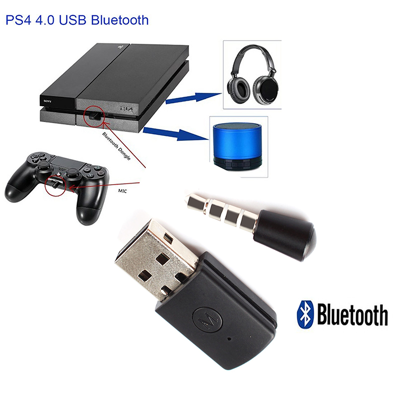 BT 4.0 EDR Audio Transceiver USB Dongle PS4 Console Game Music Emitter Bluetooth Headset Receiver With 3.5mm Aux Mic Adapter
