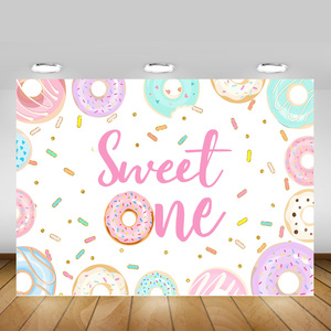 Image 1 - Banderole de comptoir de desserts, accessoires de décoration de fête danniversaire, Donuts de nouveau né, 1er anniversaire, photographie de fond