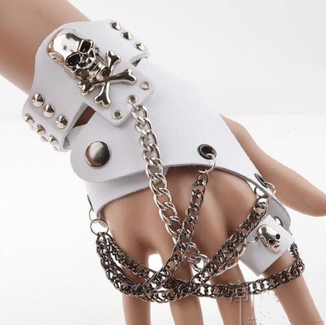 אופנה גברים נשים היפ הופ שאינו מהזרם המרכזי חצי אצבע כפפות שרשרת טבעת אמיתי עור פאנק מסמרת כפפות טבעות R1593