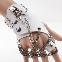 Moda erkekler kadınlar Hip hop olmayan ana yarım parmak eldiven zincir yüzük hakiki deri punk perçin eldiven yüzük R1593