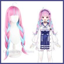 VTuber Hololive Minato Aqua парик смешанные синие Розовые косы для девочек двойной хвост косплей длинные плетеные синтетические волосы ролевые игры