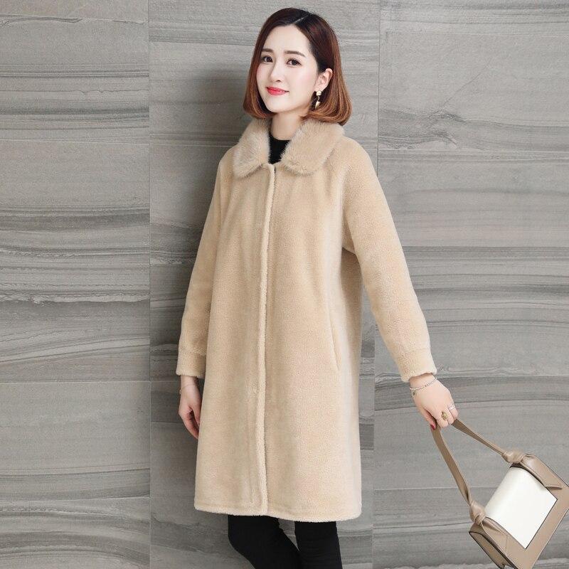 Real Fur Coat Women Clothes 2020 Winter Jacket Mink Fur Collar Korean Long Wool Coats Ladies Manteau Femme Hiver KJ1009