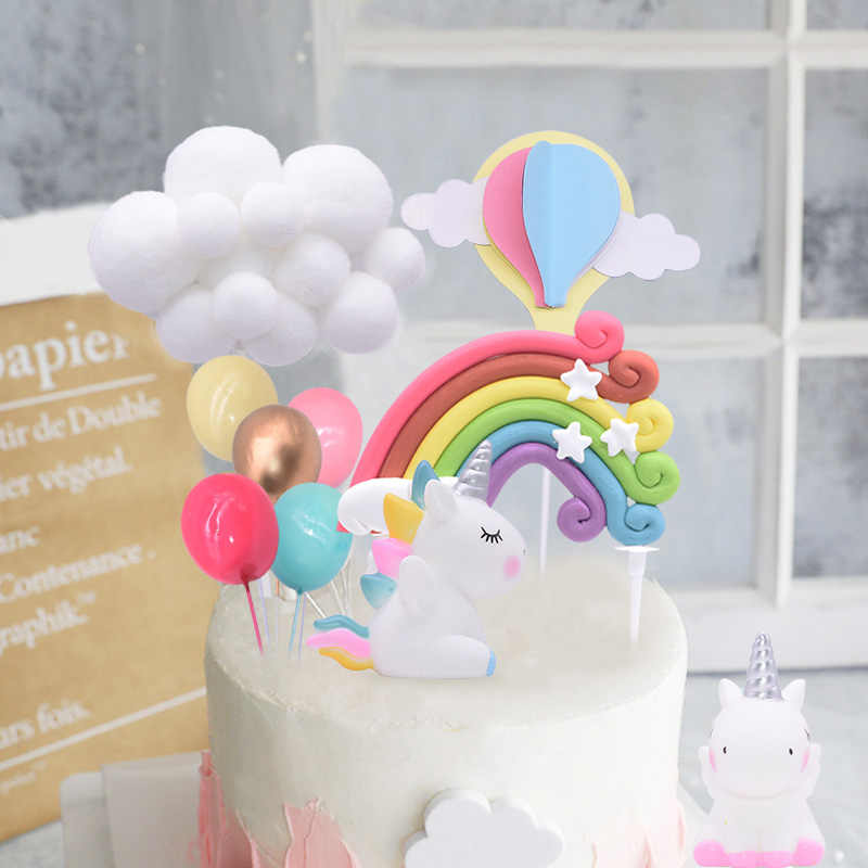 Magnificent 1 6Pcs Creative Birthday Cake Toppers Cute Unicorn Cloud Hairball Personalised Birthday Cards Bromeletsinfo