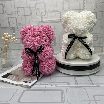 Valentines Day Gift 25cm Red Rose Teddy Bear Rose Flower Artificial Decoration Christmas Gifts Women Valentines Gift Artificial & Dried Flowers