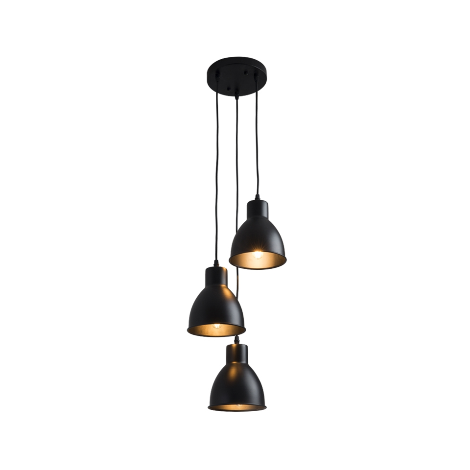 OYGROUP Industrial Chandelier E27 Pendant Lamp Ceiling Hanging Light Fixture 3 Lights  No Bulb  Black|Pendant Lights| |  - title=