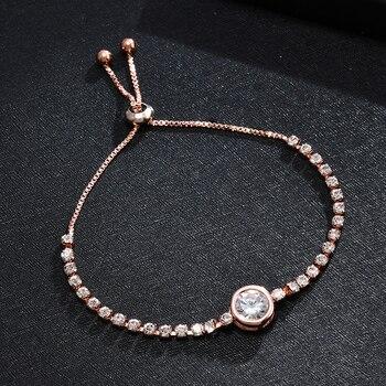 Heart Round Bracelet Simple Cute Crystal Chain Bracelet Women Charm Sweet Jewelry 3