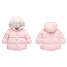 Kids Coats New Winter Overalls For Girls Children Outerwear winter Hooded Winter Jacket Fashion Kids Star Coat Baby Girl Clothes цена и фото
