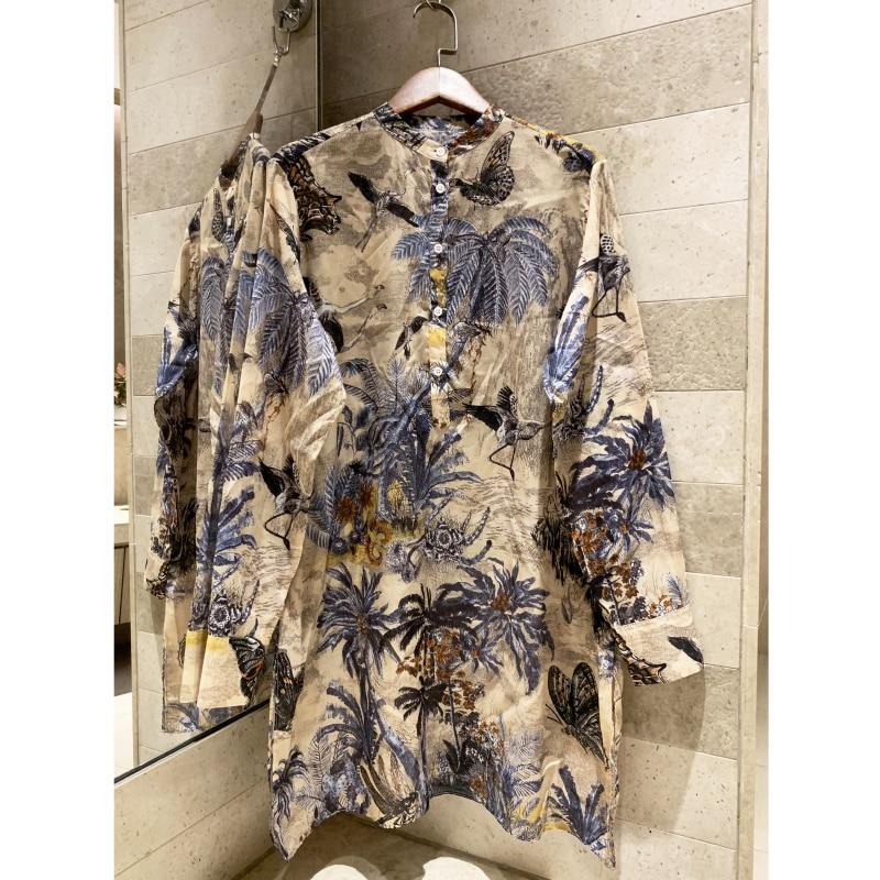 Mode femmes à manches longues coton imprimé chemise robe décontracté qualité femmes o-cou île imprimé vacances lâche mini robe
