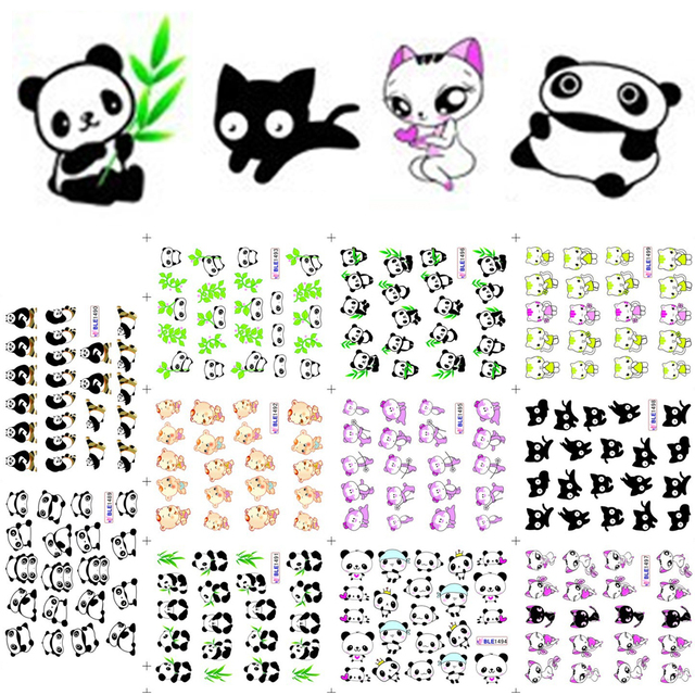 11 تصاميم لطيف الباندا نمط ملصقات على الأظافر القط الأسود المياه الوشم المنزلق مسمار الفن الديكور التفاف كامل نصائح BEBLE1489 1499