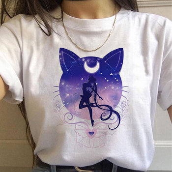 Sailor Moon Print 90s Loose Large Women's T-shirts Summer Round Neck Short Sleeve Treetwear Top Female T-shirt Women Clothing blue round neck random print t shirts