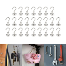 25pcs SNE16 Strong Neodymium Magnet Round Hook For Indoor Outdoor Hanging Salvage Magnet Sea Fishing Holder Pulling Mounting Pot 66kg pulling force mounting magnet dia48mm magnetic lifting magnets strong neodymium permanent pot magnet