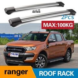 2 szt. Belki dachowe dla ford-Ranger (TKE) [2011-2019] T6 2011 + 2017 2018 aluminiowe relingi boczne poprzeczny bagażnik dachowy bagaż