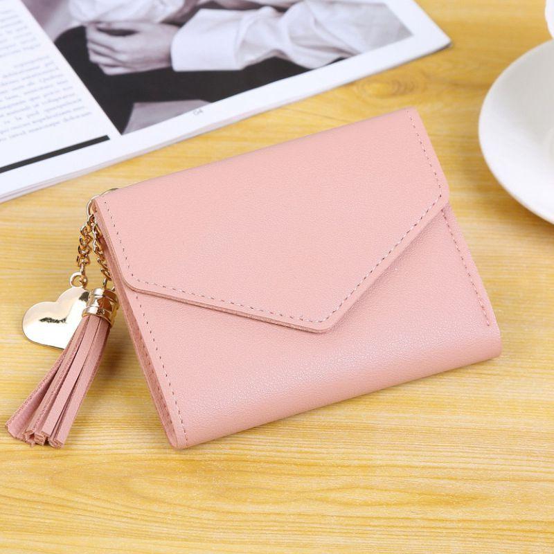 Женский кошелек, милый, студенческий, с кисточкой, с подвеской, тренд, маленький, модный, кожзам, кошелек,, кошелек для монет, для женщин, дамская сумка для карт, для женщин, LMJZ - Цвет: Розовый