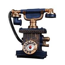 Vintage teléfono alcancía figurita creativa resina arte moderno estatuilla ornamento decoración del hogar Accesorios de escritorio ornamento