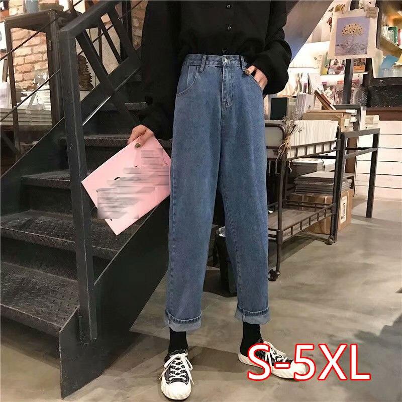 Plus Szie 5XL Boyfriend Jeans Women Autumn Casual Denim Pants Korean Streetwear Female Vintage Ankle-length Pants Straight Pants
