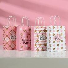 AVEBIEN Kraft Paper Pink Lattice Birthday Party Portable Gift Bag Printing Dot Star Shape Shopping Packaging Bag Cadeau Zakjes