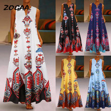 ZOGAA Large Size Elegant Women's Floral Print Long Maxi Dress Party Beach Summer Sleeveless Long Flower Sundress Costume(China)