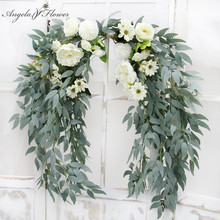 1.5m Artificial Flower Row Runner Willow Leaf Garland Hanging Green Plants Vine Leaves Christmas Garden Home Wedding Table Decor