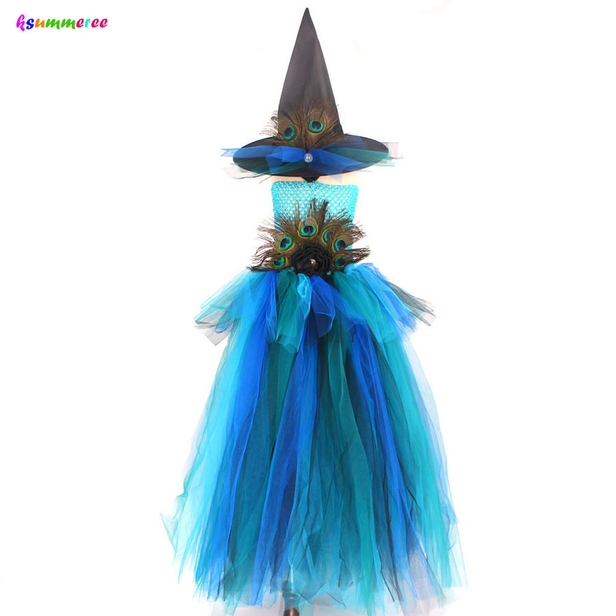 Girls Deluxe Peacock Feather Tutu Dress with Witch Hat Children Fancy Purim Pageant Birthday Party Costume Kids Prom Ball Gown 6