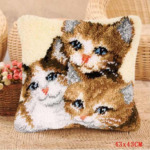 Tiga Kucing Karpet Bordir Smirna Pakket Tapijt Do-It-Yourself Kait Bantal Karpet Knoop Kussen Pakket Latch hook Kit
