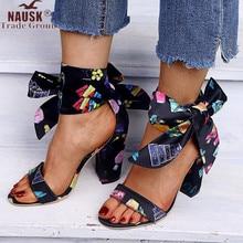Flock High Heel Summer Style Ribbon Sandals Vintage Black Fashion Ankle Strap Pu