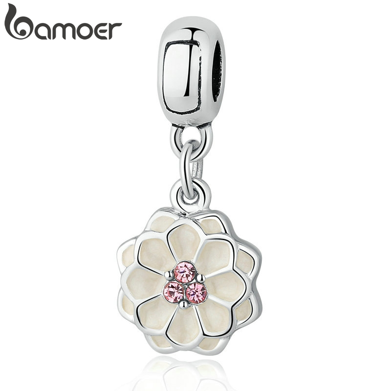 BAMOER Silver Color White BLOOMING DAHLIA PENDANT CHARM Fit Bracelets Necklaces Women Beads & Jewelry Making PA5329