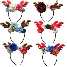 Рождественская повязка на голову с оленьими рогами, искусственный цветок, сделай сам, олененок, эльф, рождественские аксессуары для волос на Рождество, повязка на голову